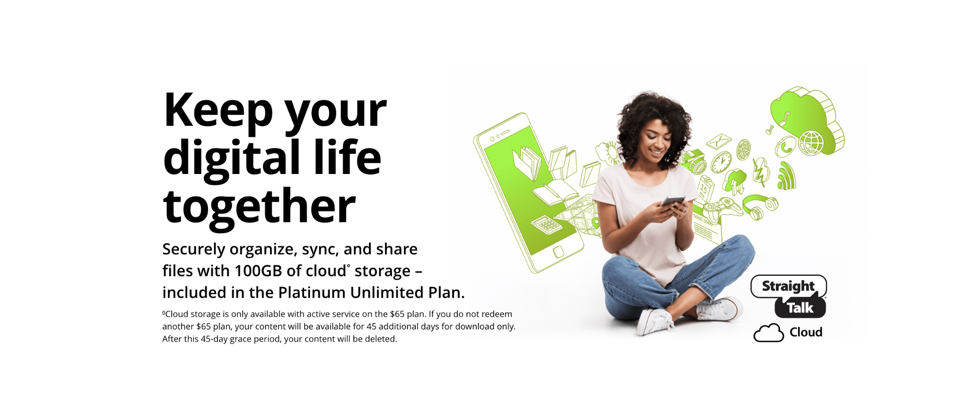 Keep your digital life together. Securely organize, sync, and share files with 100GB of cloud storage, included in the platinum unlimited plan. Cloud storage is only available with active service on the $65 plan. If you do not redeem another $65 plan, your content will be available for 45 additional days for download only. After this 45 day grace period, your content will be deleted.